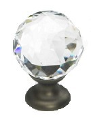 "Schaub Fire Clear Round Crystal Knob 1-1/8"" (S-70-CS-)"